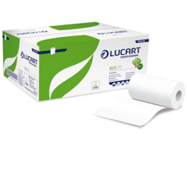 Asciugamani in rotolo Eco 70 - Mini - 2 veli - goffratura micro+ - 18,5 gr - diametro 13 cm - 22,8 cm x 70 mt - bianco - Lucart