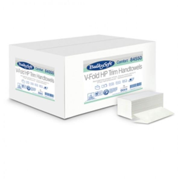 Asciugamani piegati a V Comfort - 2 veli - goffratura micro - 17 gr - 21x21 cm - bianco - BulkySoft - conf. 210 pezzi