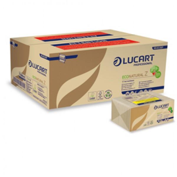 Asciugamani piegati a Z EcoNatural - 2 veli - 22 gr - 23,5 x 23 cm - goffratura corda - avana - Lucart - conf. 220 pezzi