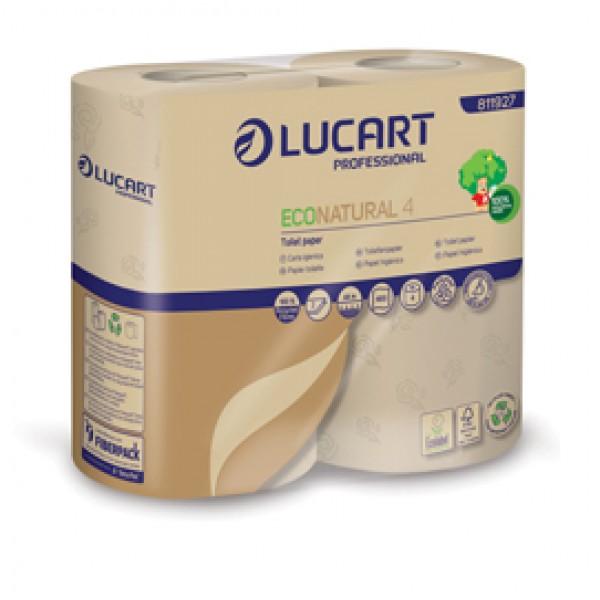 Carta igienica EcoNatural - 9,5 cm x 44 mt - diametro 12,5 cm - 15,5 gr - 400 strappi - Lucart - pacco 4 rotoli