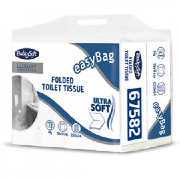 Carta igienica interfogliata EasyBag - 15,5 gr - strappo 11x19 cm - Bulkysoft - pacco da 250 strappi