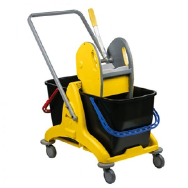 Carrello a doppia vasca Pressclean - 81x43,5x88 cm - 25+25 litri - con strizzatore - con ruote pivottanti - Medial International