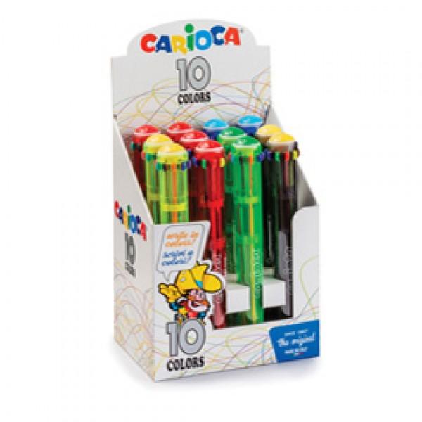 Display 12 penne a sfera automatica - 10 colori colori fluo assortiti - Carioca