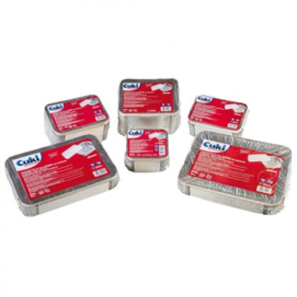 Contenitore in alluminio - 31,5 x 21,5 x 4,2 cm - 6 porzioni - coperchio incluso - Cuki Professional - pack 25 pezzi