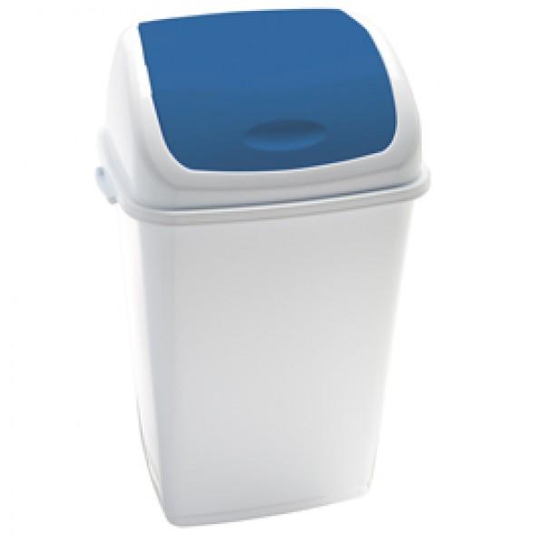 Pattumiera con coperchio basculante Rif - 44x33x68 cm - 50 L - bianco/blu - Medial International
