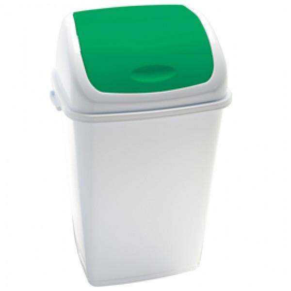 Pattumiera con coperchio basculante Rif - 44x33x68 cm - 50 L - bianco/verde - Medial International