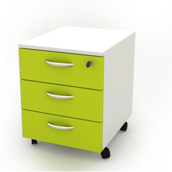 Cassettiera Rainbow - 41x50x52,2 cm - 3 cassetti - con ruote - bianco/verde - Artexport