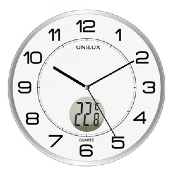 Orologio da parete Ø30,5cm con termometro Tempus Unilux - 400094592