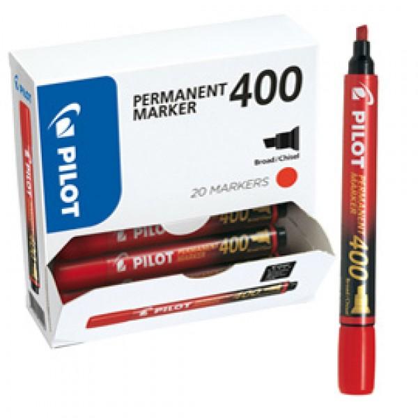 Scatola Marcatore Permanente Markers 400  - punta a scalpello 4,50mm - rosso - Pilot - scatola 15 + 5 pezzi