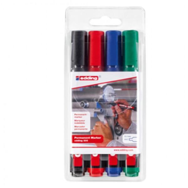Marcatore permanente 300 - punta conica 1,50 - 3,00 mm - colori assortiti - Edding - astuccio 4 pezzi