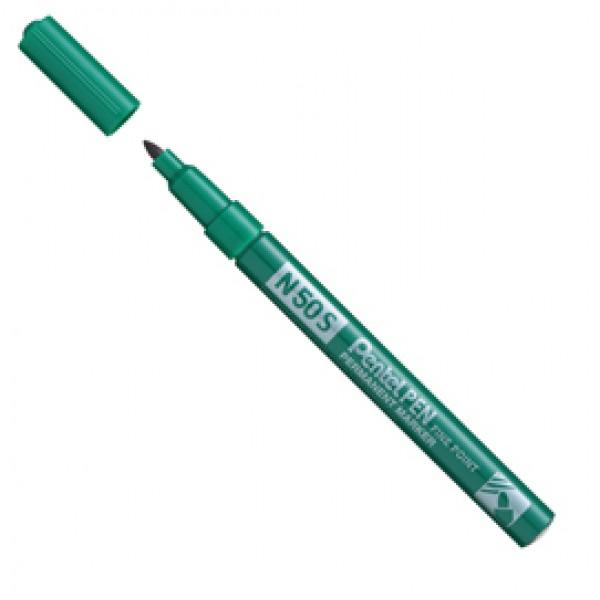 Marcatore permanente N50  - punta tonda 3,18mm - verde - Pentel