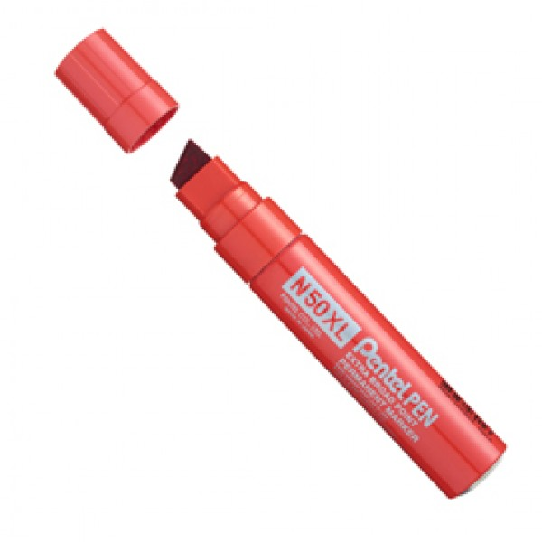 Marcatore permanente N50XL - punta a scalpello 8,00 - 15,40 mm - rosso - Pentel