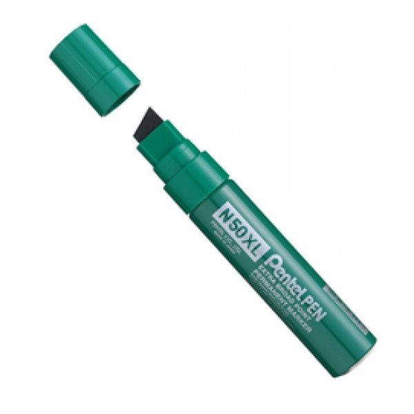 Marcatore permanente N50XL - punta a scalpello - 8,00 - 15,40 mm - verde - Pentel