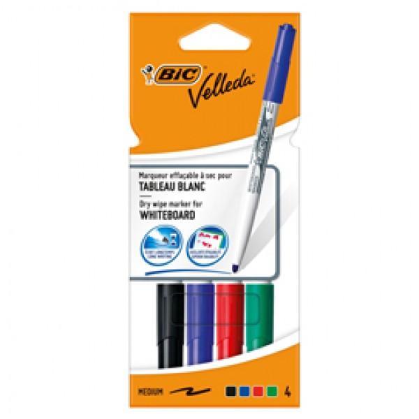 Pennarello Whiteboard Marker Velleda 1741 - punta tonda 1,4 mm - colori assortiti - Bic - astuccio 4 pezzi