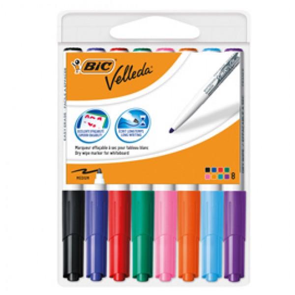Pennarello Whiteboard Marker Velleda 1741 - punta tonda 1,4 mm - colori assortiti - Bic - astuccio 8 pezzi