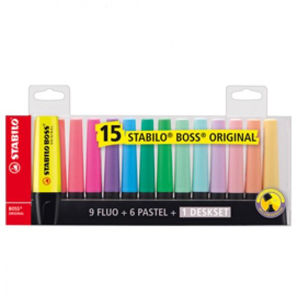 Evidenziatore Boss Original  - punta a scalpello - tratto da 2,0-5,0mm - cilindro 15 colori assortiti - Stabilo - conf. 15 evidenziatori