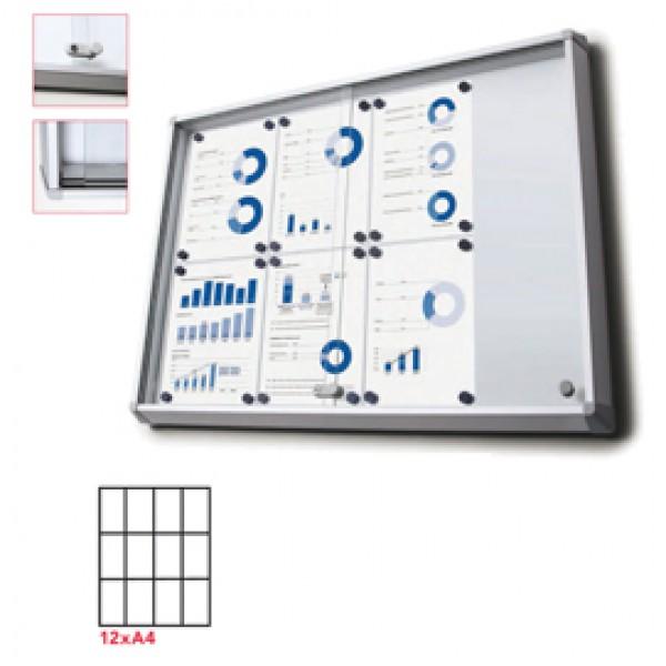 Bacheca per interni - magnetica - 12 fogli A4 - ante scorrevoli - Studio T
