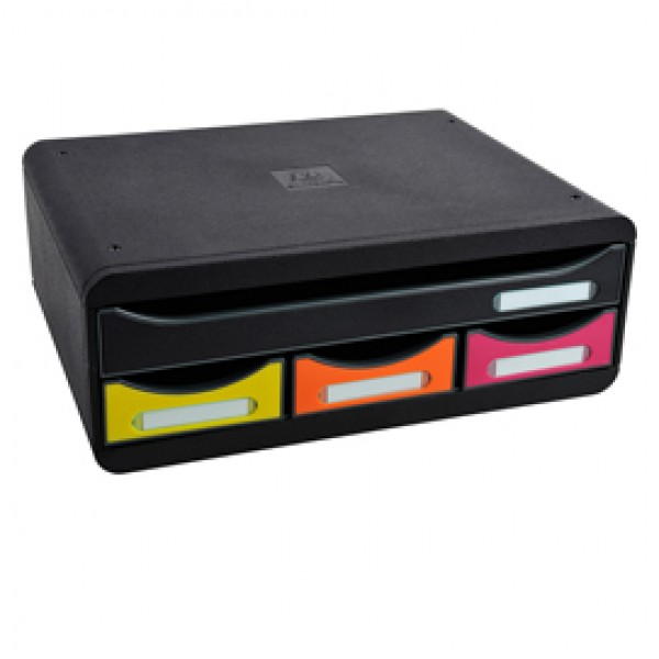 Cassettiera Toolbox - 27x35,5x13,5 cm - 4 cassetti - nero/arlecchino - Exacompta