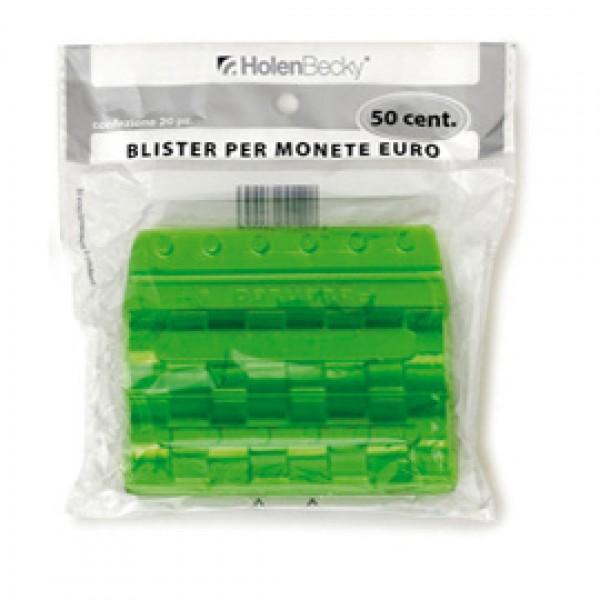 Blister 20 Portamonete in PVC 50cent verde - 8005/20