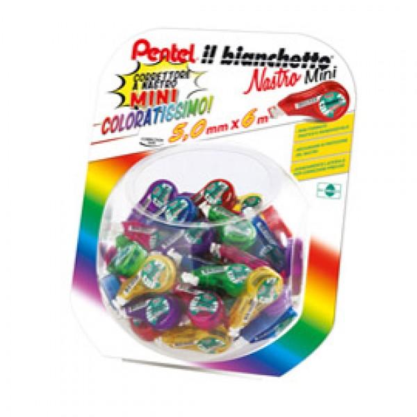 Correttore a nastro Il Bianchetto - 5 mm x 6 mt - colori assortiti - Pentel - boccia 48 pezzi
