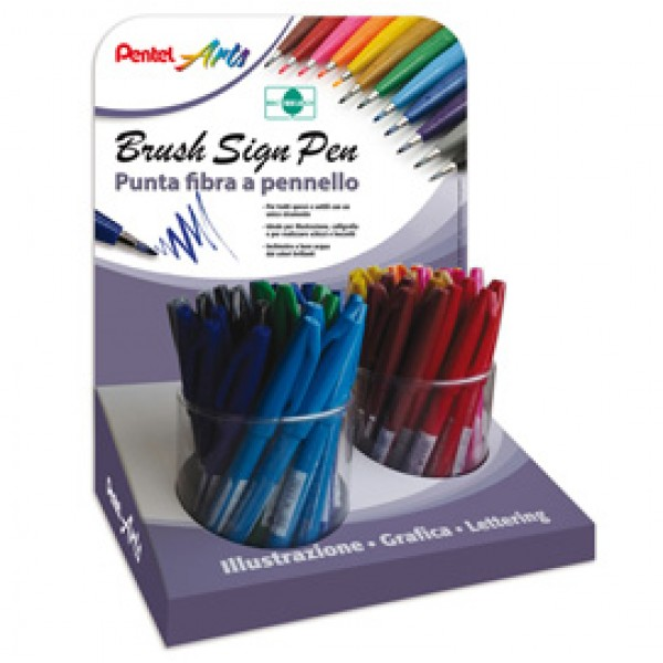 Penna Brush Sign Pen - colori assortiti - Pentel - display 54 pezzi