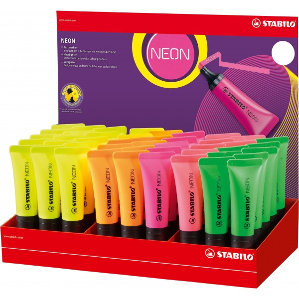 Evidenziatore Neon - colori assortiti - Stabilo - expo 45 pezzi
