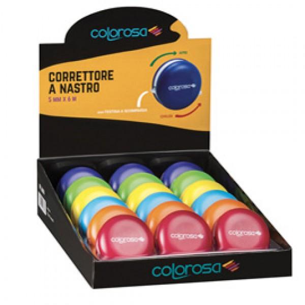 Correttore a nastro Colorosa - 5 mm x 6 mt - colori assortiti - Ri.Plast - expo 18 pezzi