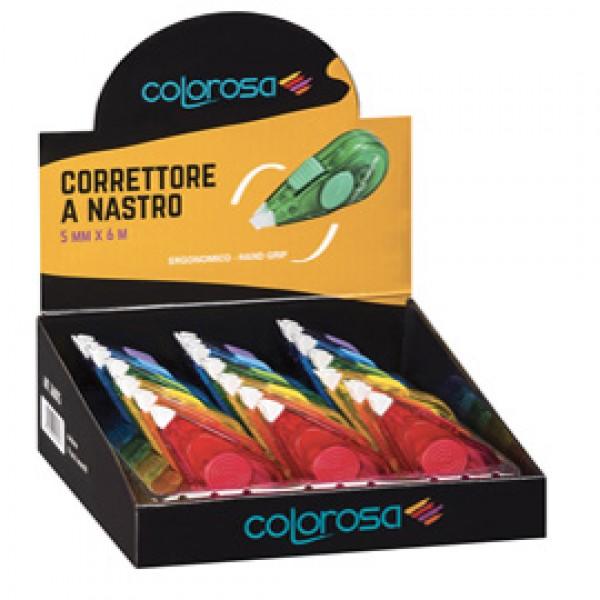 Correttore a nastri ergonomico Colorosa - 5 mm x 6 mt - colori assortiti - RiPlast- espositore 18 pezzi