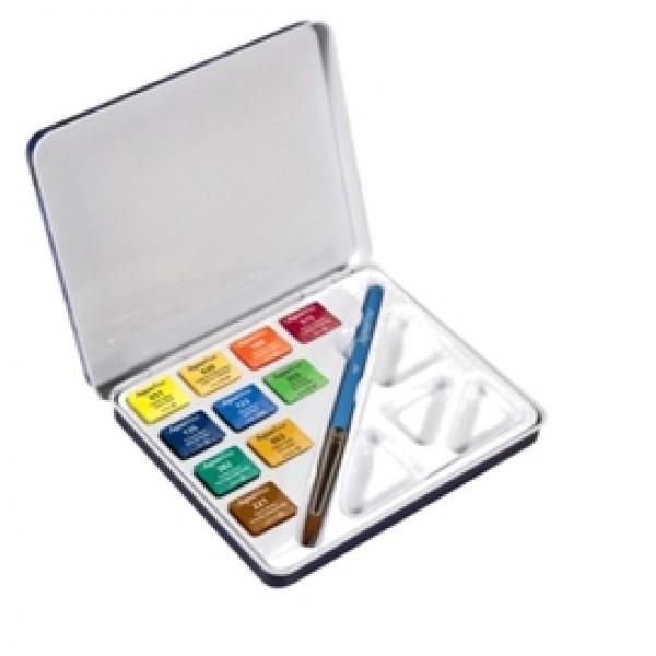 Acquerelli Aquafine - colori assortiti - Daler Rowney - scatola metallo 10 acquerelli + pennello + tavolozza