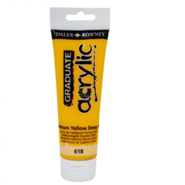 Colore acrilico fine Graduate - 120 ml - giallo cadmio scuro - Daler Rowney
