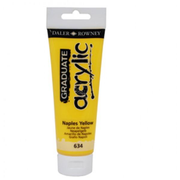 Colore acrilico fine Graduate - 120 ml - giallo Napoli - Daler Rowney