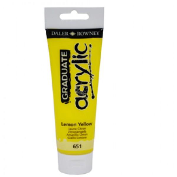 Colore acrilico fine Graduate - 120 ml - giallo limone - Daler Rowney