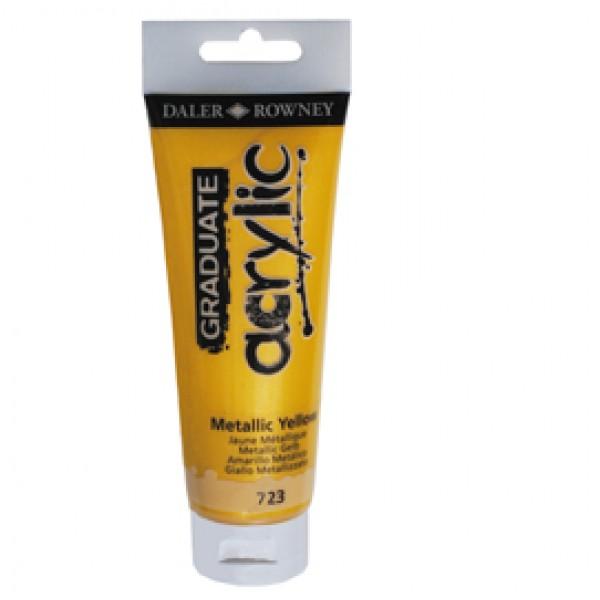 Colore acrilico fine Graduate - 120 ml - giallo metal - Daler Rowney