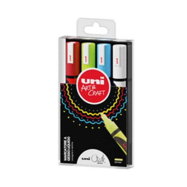 Marcatore a gesso liquido Uni Chalk Marker - punta tonda 1,80 - 2,50 mm - Uni Mitsubishi - busta 4 pezzi