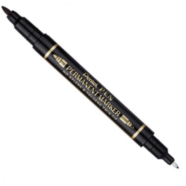 Marcatore permanente Twin tip - doppia punta fine-extra fine - nero - Pentel