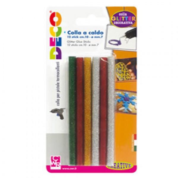 12 stick colle glitter assortite per pistola mini TG02M Ø.7mm - lungh.10cm Cwr - 12071