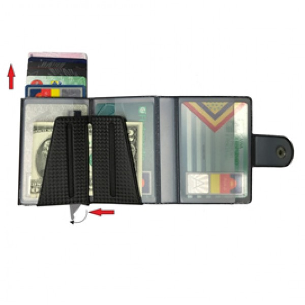 Portacard Wally Carbon - 6x9,5cm - grigio - Alplast
