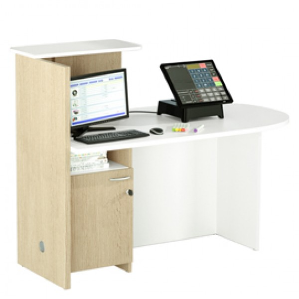 Reception concept - destra - 143x83x117 cm - bianco/rovere - Artexport