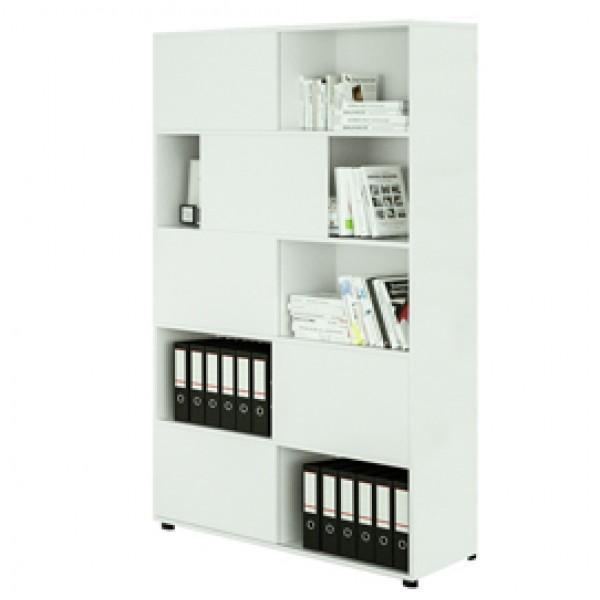 Libreria alta Tetris a 5 ripiani ante scorrevoli - 120x35x191 cm - bianco - Artexport