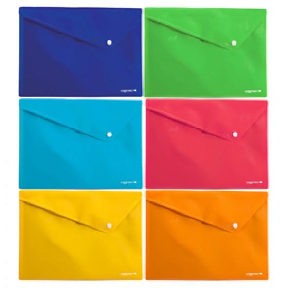 Buste Colorosa con bottone - in PPL - 33 x 24,5 cm - colori assortiti - Ri.Plast - conf. 6 pezzi
