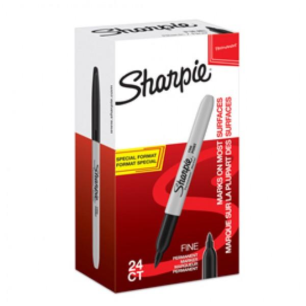 Marcatore permanente fine - punta conica 1,0 mm - nero - Sharpie - value pack 20 + 4 pezzi