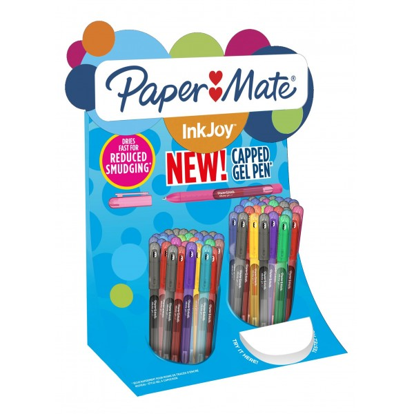 2036161 Espositore 60 penne Inkjoy Gel Stick 0,7mm colori ass. Papermate