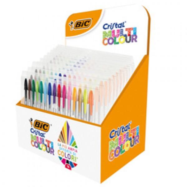 Astuccio penne Cristal Multicolor - colori assortiti - Bic - espositore 10 pezzi