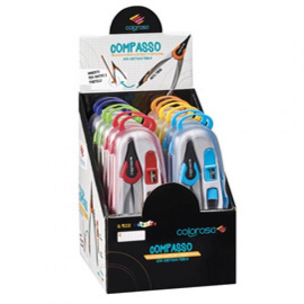 Compasso - aste fisse - colori assortiti - RiPlast - expo 12 pezzi