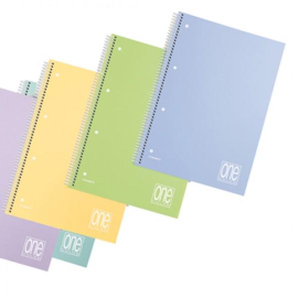 Maxiquaderno spiralato con fori One Color Pastel - A4 - quadretto 4mm - 80 fogli - 80gr - copertina ppl - Blasetti