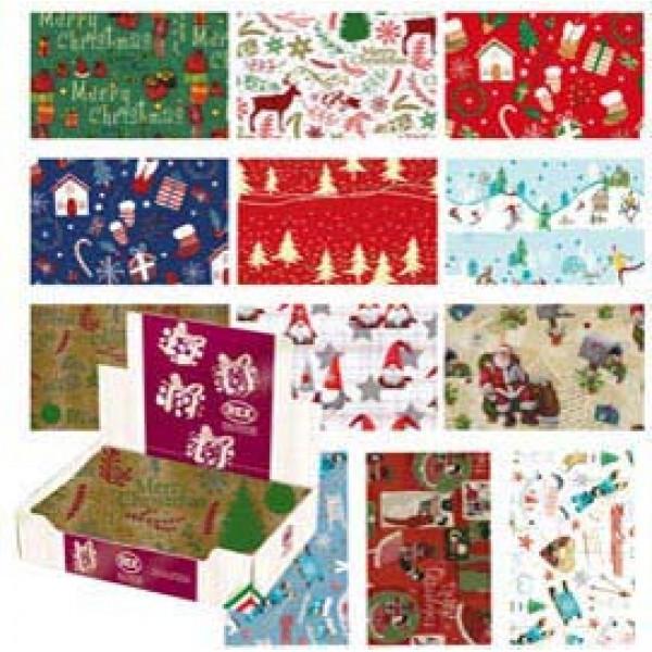 Carta regalo - raso - Country Natale - 70 x 100 cm - Rex Sadoch - scatola 100 fogli