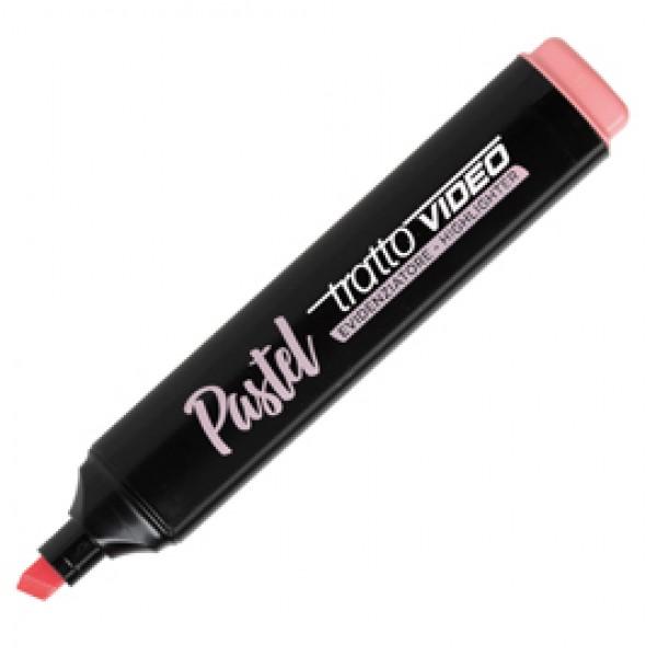 Evidenziatore Tratto Video pastel  - punta a scalpello - tratto da 1,0mm-5,0mm - rosa pompelmo - Tratto
