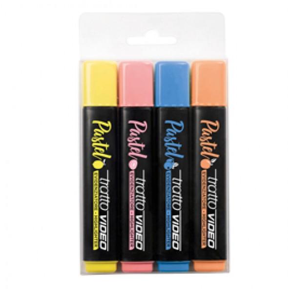 Evidenziatore Tratto Video pastel  - punta a scalpello - tratto da 1,0mm-5,0mm - colori assortiti - Tratto - astuccio 4pz