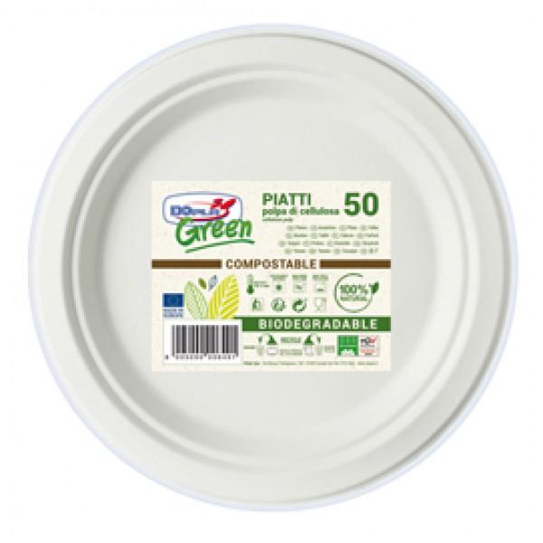 Piatti piani - diametro 220 mm - biodegradabili - Dopla Green - conf. 50 pezzi