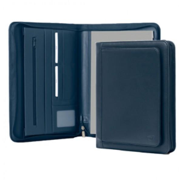 Portablocco Office - ecopelle - con zip - 26x34 cm - blu - InTempo
